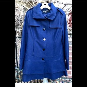 WHITE RIVET Royal Blue Wool Coat NEW Size MED 💙